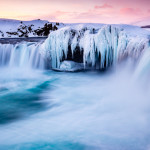 Godafoss waterfall in winter